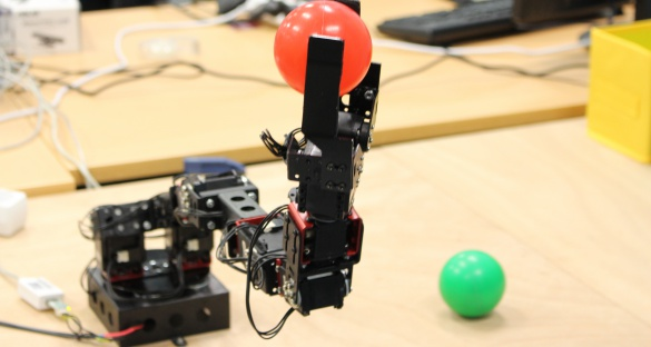 This robotic arm can learn simple object manipulations, like picking up plastic balls. Image courtesy of the DREAM consortium