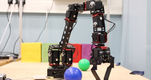 When you combine CrustCrawler's robotic arm with a camera, it can study and manipulate nearby objects. Image courtesy of the DREAM consortium