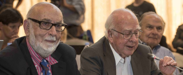 Professor François Englert (L) and Professor Peter Higgs (R) at their first meeting at CERN in 2012. Image courtesy of CERN