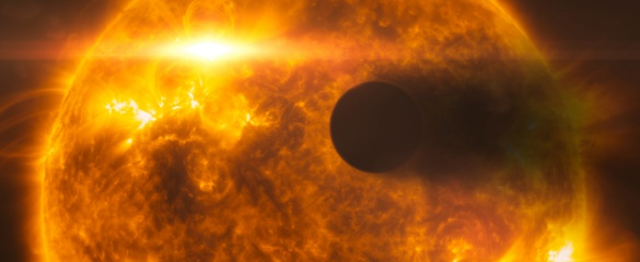 An artist's impression of the exoplanet HD 189733b as it passes its parent star. Improvements in observatory technology are helping astronomers search for exoplanets which may contain life. Image credit: NASA, ESA, L. Calçada