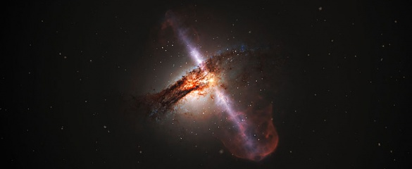 The supermassive black holes at the centres of galaxies can fire out powerful jets into space. Image credit: ESA/Hubble, L. Calçada (ESO) under CC BY 3.0