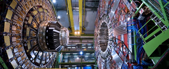 The Compact Muon Solenoid (CMS) is one of the two experiments that detected the signal of the Higgs boson at CERN, in Geneva (CH). To detect elementary particles, physicists need huge instruments. The CMS experiment is 21 m long, 15 m wide and 15 m high. © CERN