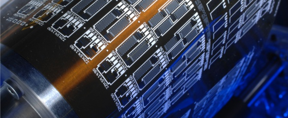 Flexible electronics on foil, manufactured in reel-to-reel process. © Fraunhofer EMFT