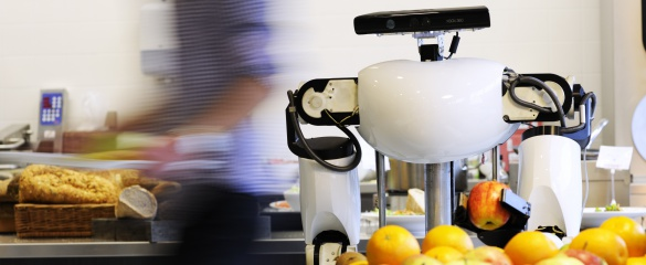 A robot connected to RoboEarth performing a pick-up task in a supermarket. © RoboEarth.org/Bart van Overbeeke