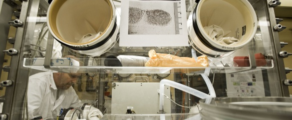 Officers and experts are trained to use forensic evidence to detect radioactive material. © ITU
