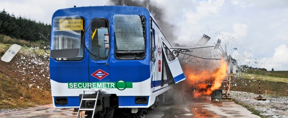 The SecureMetro project tests the resilience of carriages by blasting them with explosives. Image courtesy of SecureMetro.