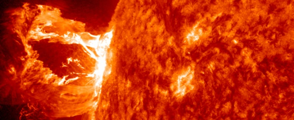 Solar flares release vast amounts of radiation and a plume of very hot plasma. Image courtesy of NASA/SDO/AIA