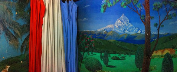 Photography studios in Nepal use aspirational backdrops, such as an idealised landscape, to allow people to shed their day-to-day identities and imagine a different life. Image credit - Prof. Christopher Pinney/ PhotoDemos