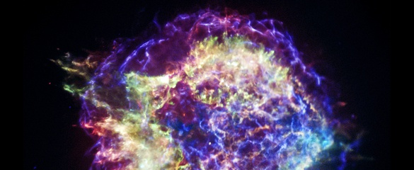 Cassiopeia A, a supernova in the Cassiopeia constellation, has an unusual shockwave which is full of twists and knots. Image: ©NASA/CXC/SAO