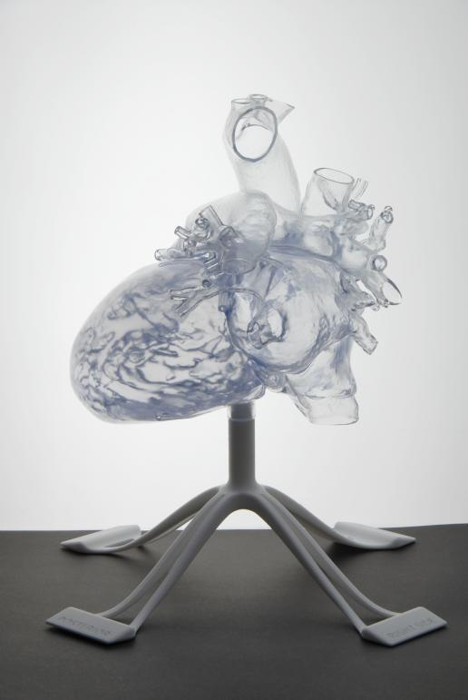 A 3D-printed model heart designed using Materialise's Mimics Innovation Suite. Medical engineers can create accurate 3D models from medical images such as CT (computed tomography) scans, which are printed layer-by-layer. The results are life-sized, anatomically correct models that can be used to practise clinical surgery or to teach physicians the complex anatomy of organs like the heart. © Materialise