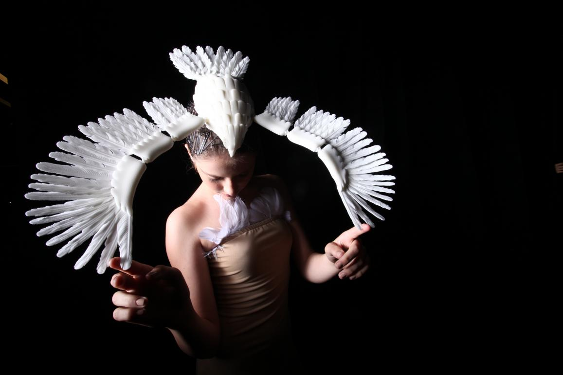 'Face it' is 3D-printed headwear designed by Malaysian fashion designer Melinda Looi and produced by Materialise, a Belgian 3D printing company. This piece is part of a collection called 'Birds' and was showcased at a fashion show in Kuala Lumpur, Malaysia, in June 2013. Each item on show took months to design, create and convert into a 3D file, which was then sent to Belgium for printing at the Materialise studio. Materialise received its first EU research funding almost 20 years ago, and since then has be