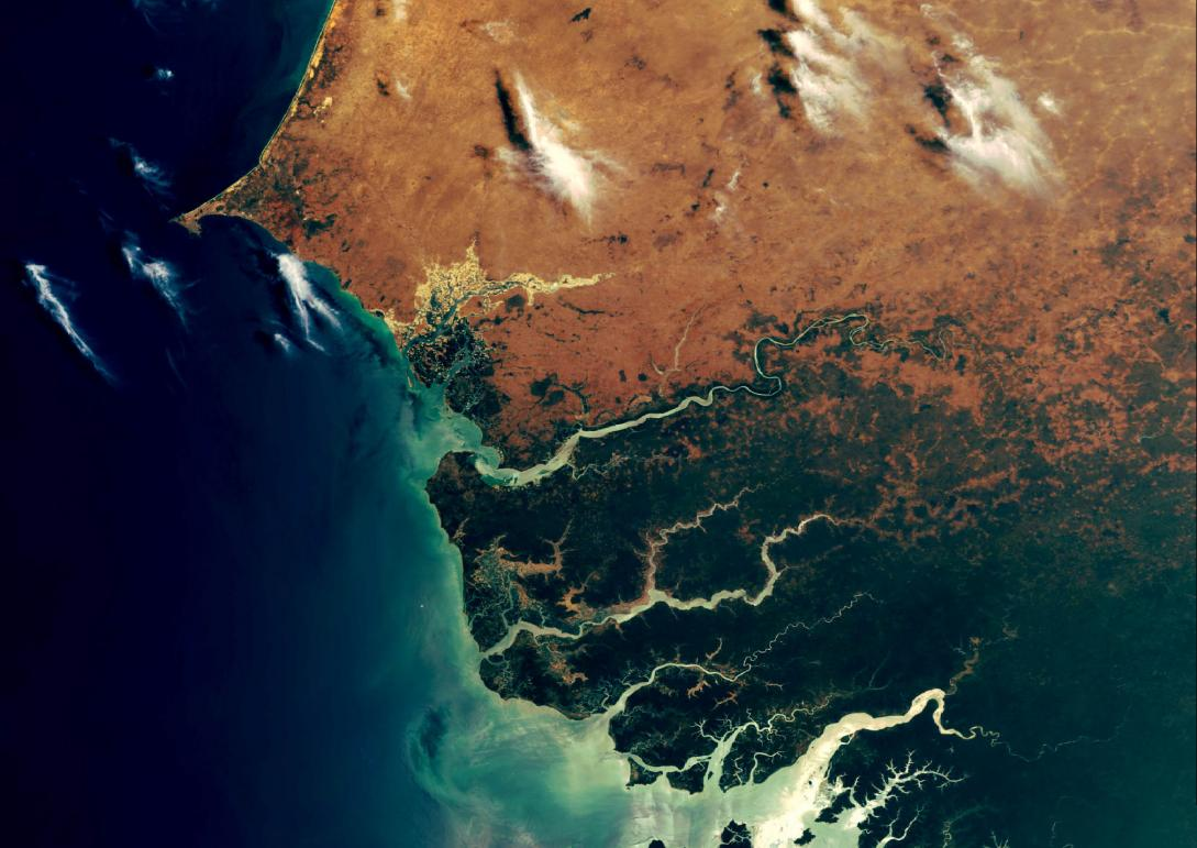 This is one of the first ever photos taken by Envisat, the ESA's earth observation satellite on 22 March 2002. The image shows the area of Casamance, Senegal, that lies to the south of The Gambia and includes the Casamance River. It displays the complex river system with its heavy discharge into the sea. This kind of image is useful for monitoring the flow of sediment generated by inland soil erosion. © ESA