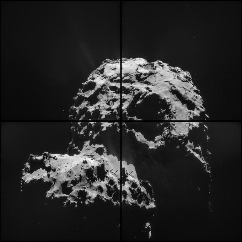 One of the main goals of Rosetta is to reveal if life on earth was kick-started by comet collisions that transported water and other organic molecules. Researchers will measure exactly what comet 67P/Churyumov-Gerasimenko is made of, so any 'water' molecules can be compared with the earth's oceans to see whether they match. Image: ESA/Rosetta/NAVCAM – CC BY-SA IGO 3.0