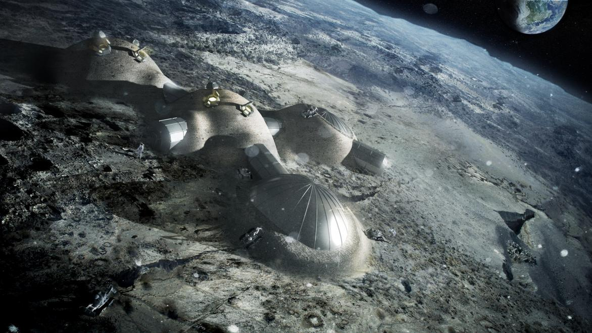 The European Space Agency is working with architects Foster + Partners to figure out how to build a base on the moon using a 3D printer that prints with lunar soil. The team has devised a weight-bearing dome design with a cellular wall that would shield the base from micro-meteoroids and space radiation. ©  ESA/ Foster+Partners
