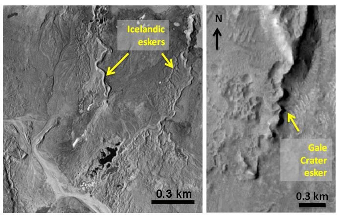 icyMARS proposes that conditions on the early Martian surface were freezing, as predicted by climate models, and at the same time there was a vigorous cold-water cycle that was active for hundreds of millions of years. The result is that early Mars would have been cold and wet. Image: (left) eskers, which form in glacial regions on earth, and (right) possibly on Mars's Gale crater/ icyMARS