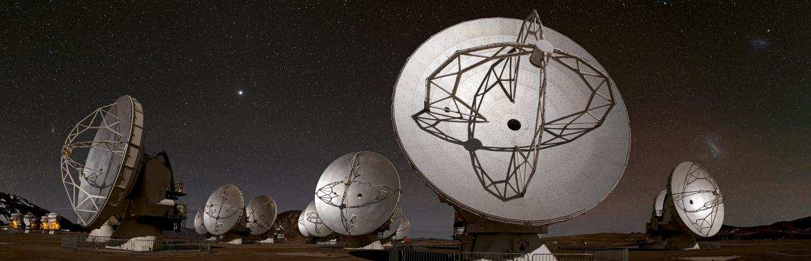 Fifty-four 12-metre and twelve smaller 7-metre dish antennas of the ALMA array work together as a single telescope. Each antenna collects radiation coming from space and focuses it onto a receiver. The 66 ALMA antennas can be arranged in different configurations, where the maximum distance between antennas can vary from 150 metres to 16 kilometres. © ALMA (ESO/NAOJ/NRAO)