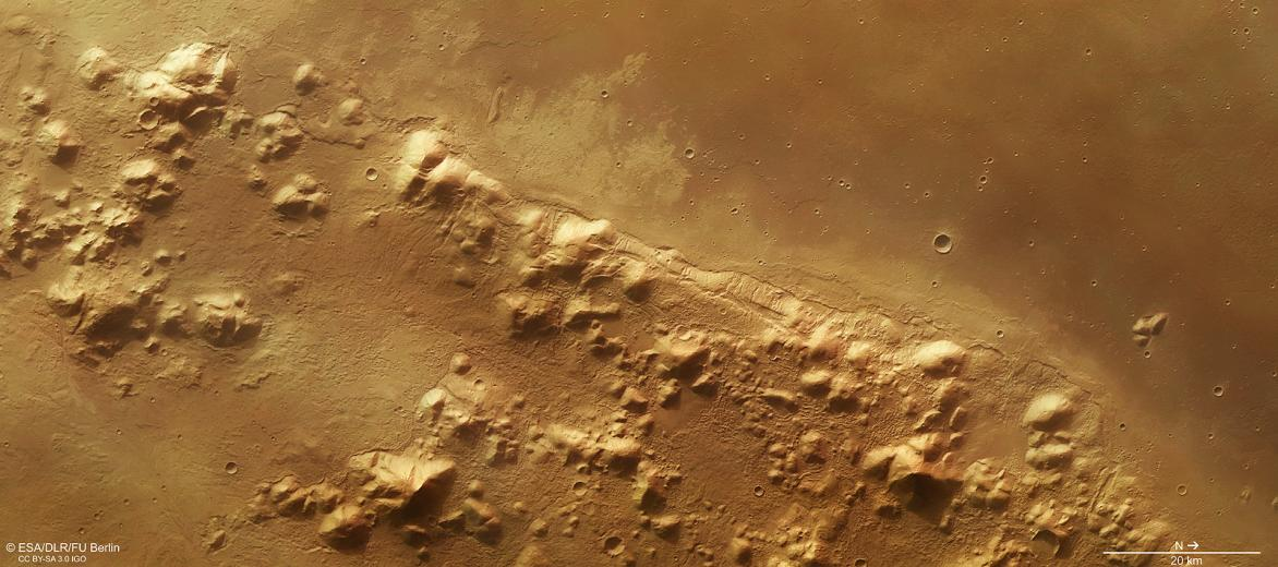 The European Space Agency's (ESA) Mars Express mission is gathering data on Mars's atmosphere, surface, history of water and potential for life. ESA researchers released images earlier this year suggesting water ice is hidden under the almost 3 billion-year-old Phlegra Montes range of hills, ridges and basins spanning 1 400 kilometres. Image: ESA/DLR/FU Berlin, CC BY-SA 3.0 IGO