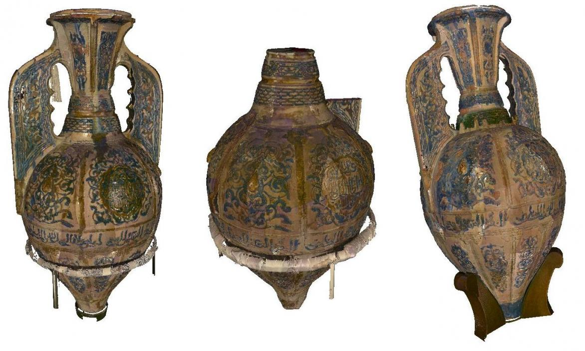 EU-funded scientists at the Centre for Research and Restoration of the Museums of France, the Louvre museum, Paris, used 3D technologies to prove the heritage of three Islamic vases as part of the 3D-COFORM research project. They used 3D scans and 3D modelling to compare the intricate surface details of the vases and reveal how similar they are. The project has also developed technology to enable the 3D printing of objects from 3D scans. Image courtesy of the 3D-COFORM project, a large-scale integration pro