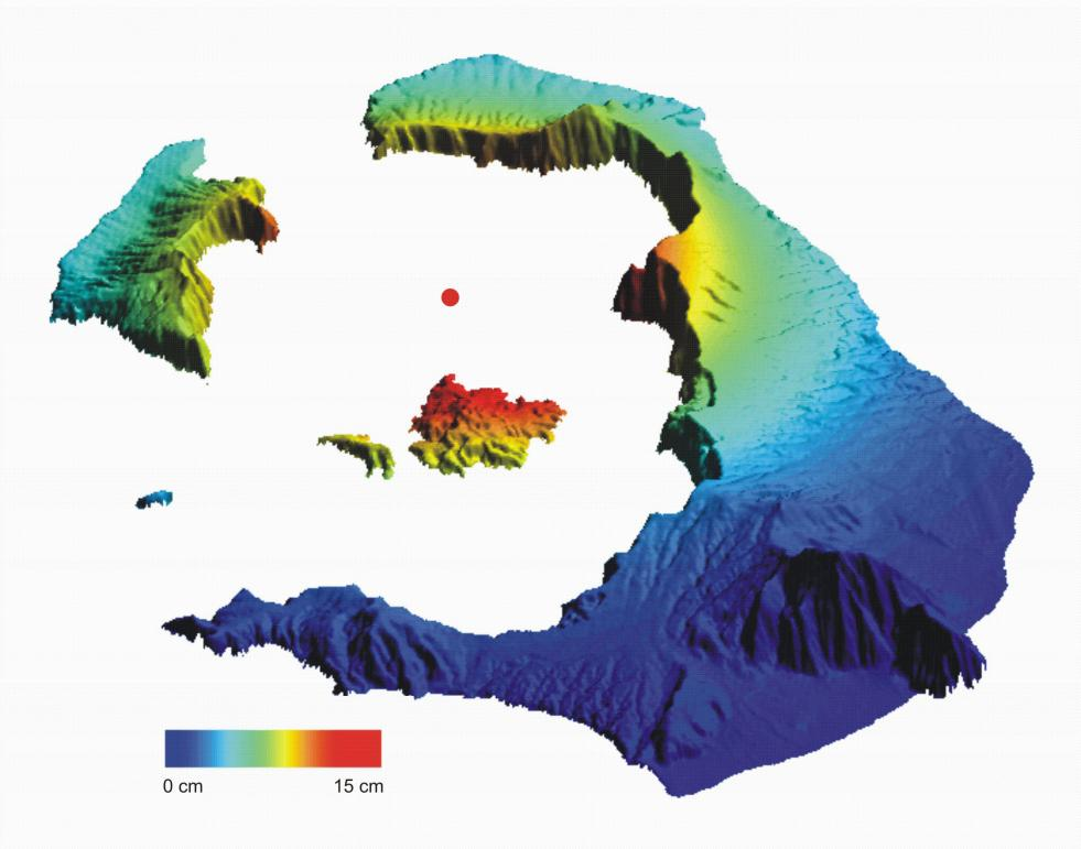 Between January 2011 and mid-2012 parts of the Santorini archipelago in Greece, such as the Kameni Islands shown in the centre of this image, rose by 14 cm due to volcanic activity. Data derived from the Copernicus contributing missions Envisat and TerraSAR-X, is enabling scientists to monitor geological risks. Public authorities can then take necessary action to ensure the safety of local populations. © PARKS