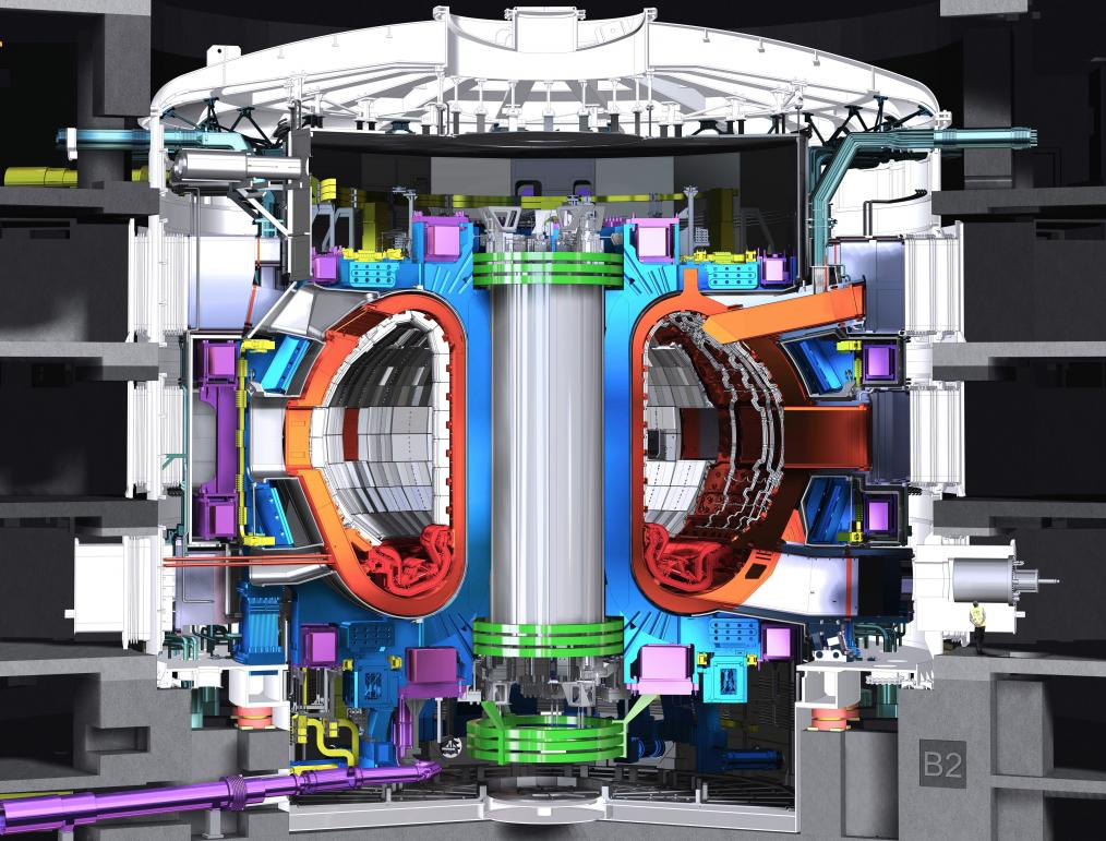 This is a model of the ITER tokamak produced in July 2013. The ITER tokamak will be nearly 30 metres tall, and weigh 23 000 tons. The ITER tokamak is made up of an estimated one million parts. The different parts are being built in factories across the world and will be delivered to the ITER site in Cadarache for assembly. © ITER Organization