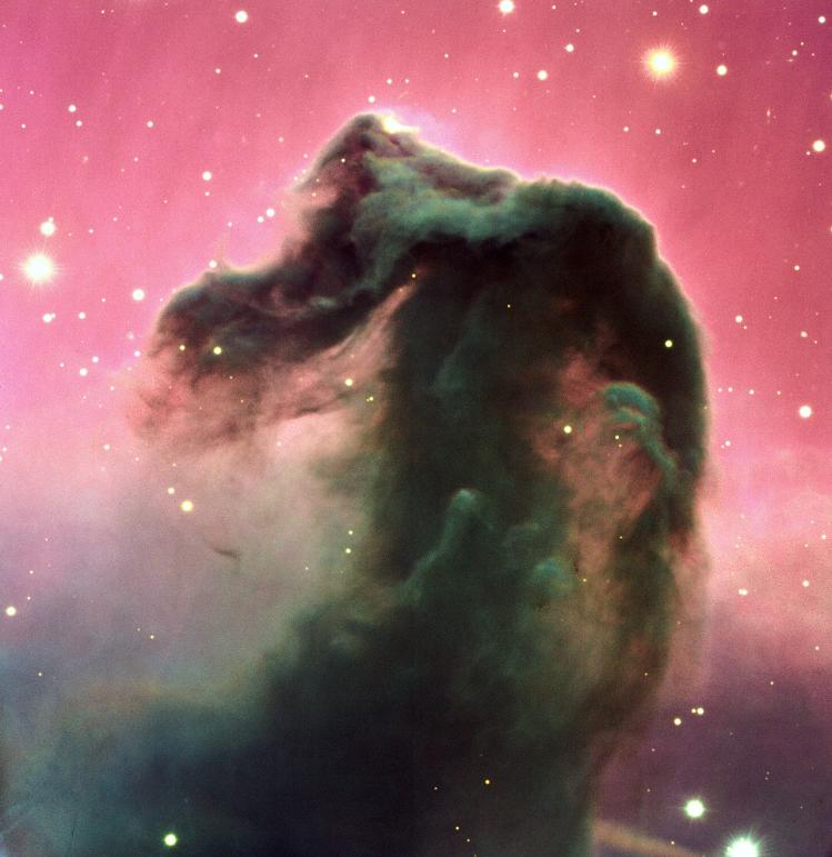 A composite colour image of the Horsehead Nebula and its immediate surroundings. It is based on three exposures in the visual part of the spectrum by the FORS2 multi-mode instrument at the 8.2-m KUEYEN telescope at Paranal. © ESO