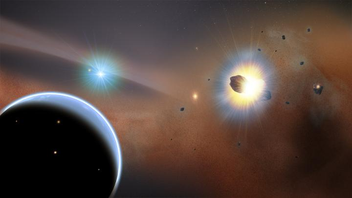 DEBRIS researchers detected a cloud of carbon monoxide gas around the young star Beta Pictoris caused by a swarm of almost constantly colliding comets. The discovery suggests the extrasolar comets are made from carbon monoxide ice and are frozen debris trapped by the gravity of an unseen exoplanet. Artist's impression: NASA's Goddard Space Flight Center/ F. Reddy