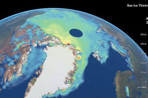 CryoSat is the European Space Agency (ESA) mission dedicated to the precise monitoring of changes in the thickness of marine ice floating in the polar oceans, along with variations in the thickness of the vast ice sheets covering Greenland and Antarctica. This 2013 CryoSat map depicts Arctic sea-ice thickness. It is the result of three years of ice measurements in the northern hemisphere. © Planetary Visions/ CPOM/ UCL/ ESA