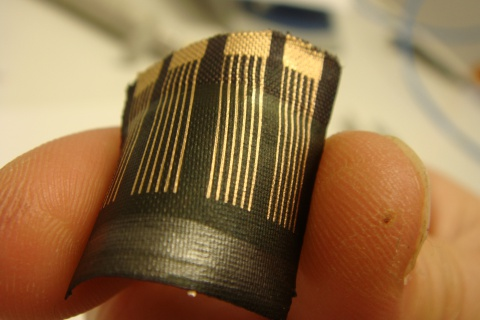 The EU-funded DEPHOTEX project has developed flexible and lightweight solar cells that can be stitched into a range of fabrics, including clothes like jeans or coats, and the energy generated could be used to charge your mobile phone. According to the project coordinator, Fanny Breuil, from the Cetemmsa Technological Centre in Spain, 'solar-powered personal devices could soon be on the market.' © Dephotex Consortium